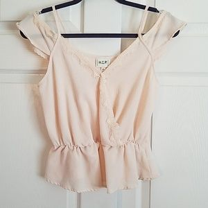 H.I.P. Lace Detail Cream Top Small